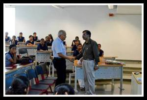 The DIG Police Mr. O.P Mishra being greeted by our Director Mr.D'Lima