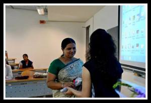 Ms. Rita Dias being felicitated by Samarthan